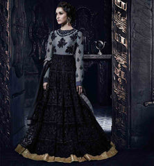 SHRADDHA KAPOOR IN GREY & BLACK ANARKALI SALWAR KAMEEZ