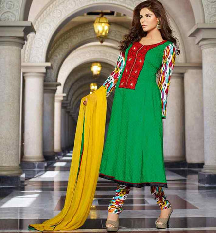 DESIGNER GREEN COTTON DRESS WITH SALWAR AND DUPATTA PRICE RS. 3250.00
