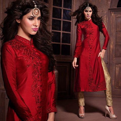 STYLISH HIGH NECK SHERWANI STYLE BUTTON PATTERN SILK SALWAR KAMEEZ MSH14003