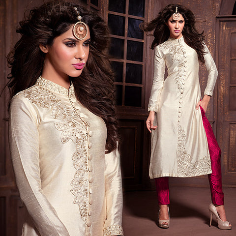 PARTY WEAR SILK STRAIGHT BANDHGALA PATTERN MODERN DESIGN SALWAR SUIT MSH14005