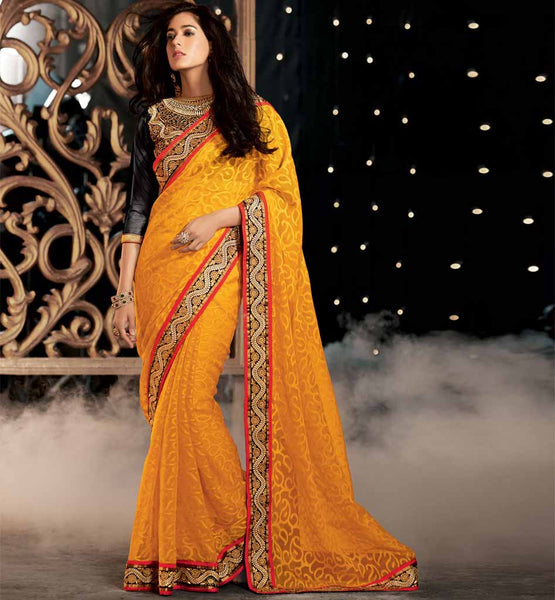 Orange Party Wear Sare Online Shopping In India With Blouse By Stylish Bazaar - Rate Rs. 3600.00  Design Code - Rtkub2316