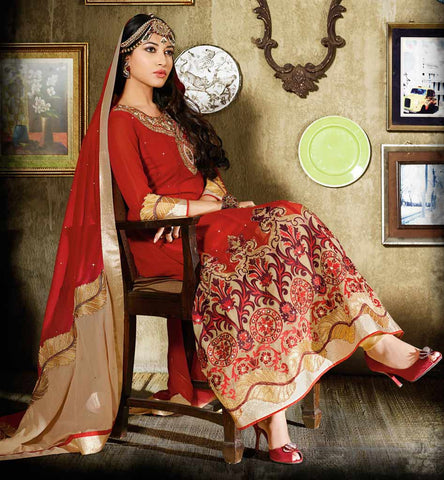 Beatiful Designer Maroon Anarkali Dress.