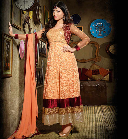 Beatiful Designer Orange Net Brasso Anarkali Dress with short velvet Koiti.