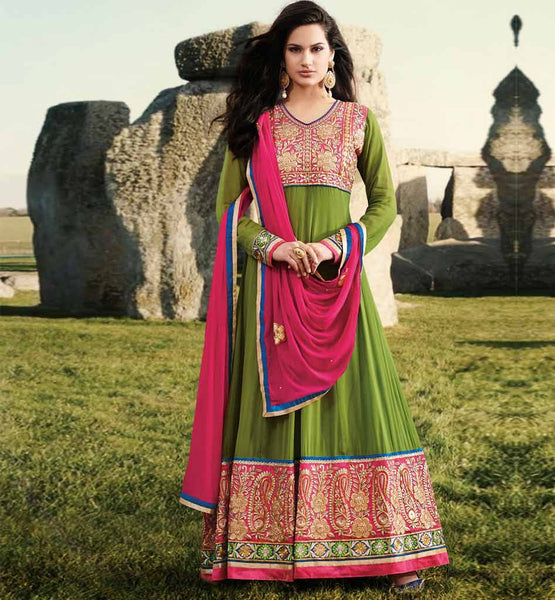 Designer Full Length Green Anarkali for this Diwali