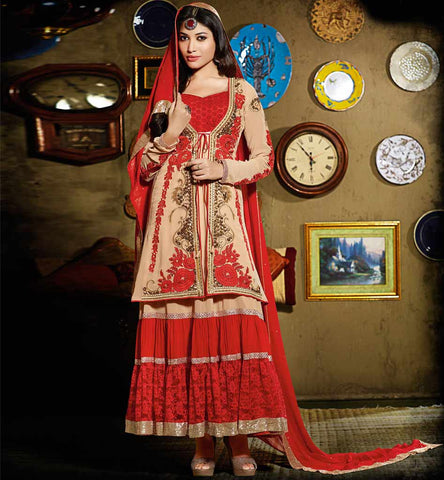 Beatiful Designer Light Brown Anarkali Dress with short Long Coti.