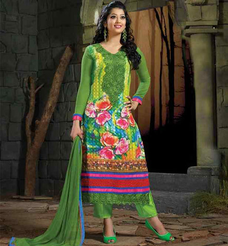 Glamorous Green floral print salwar kameez with embroidery