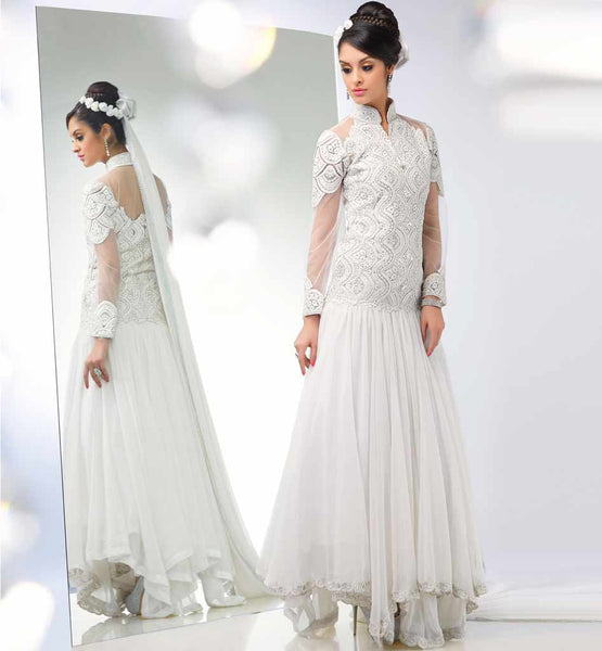 Off white anarkali online shopping in India from stylishbazaar.
