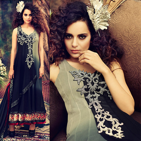 shaded kangana ranaut length anarkali gown with gliterry stone work