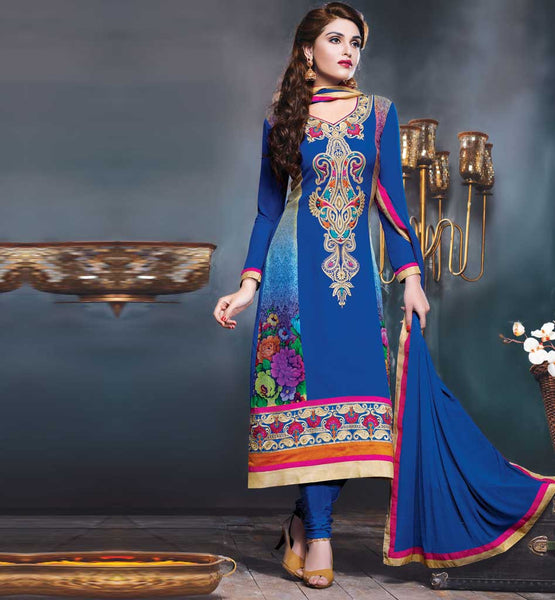 Designer blue georgette embroidered party wear salwar kameez