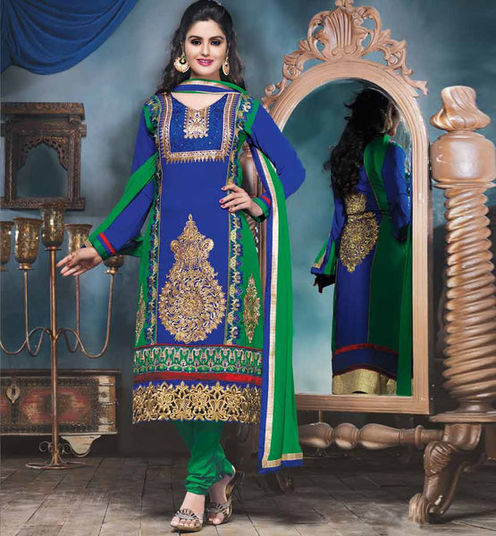 Blue & Green Georgette party wear salwar kameez by stylishbazaar!!