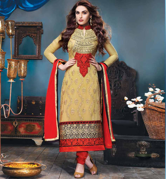 Striking cream embroidered georgette party wear salwar kameez by stylishbazaar