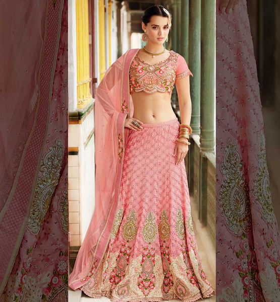 Baby pink designer Indian bridal wear Ghagra / Chaniya choli online shopping India.
