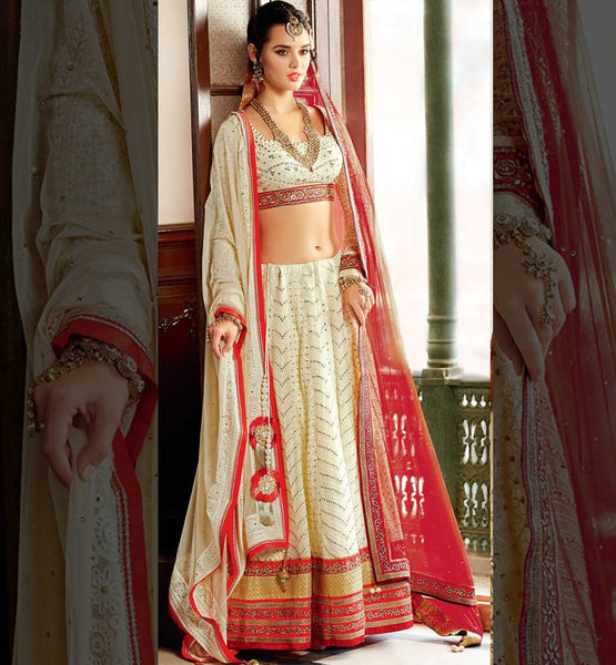 Off White Net bridal lehenga with off-white pure georgette choli online shopping.