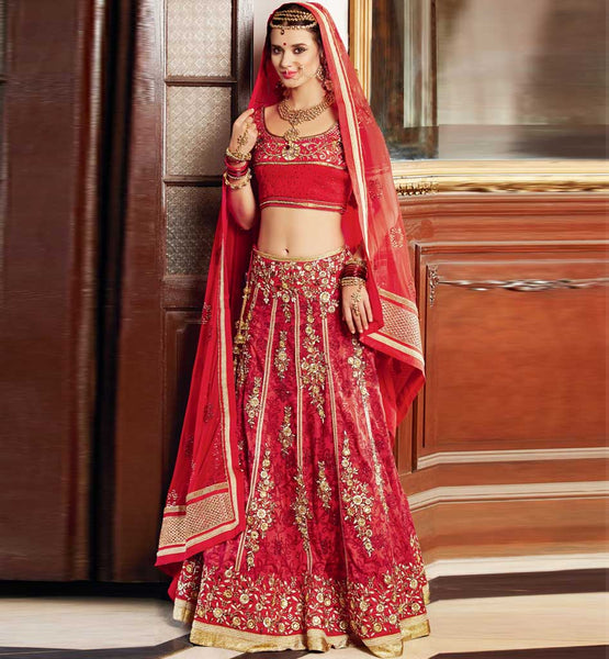 Indian designer Red / Maroon wedding wear Bridal Chania choli online shopping in India.