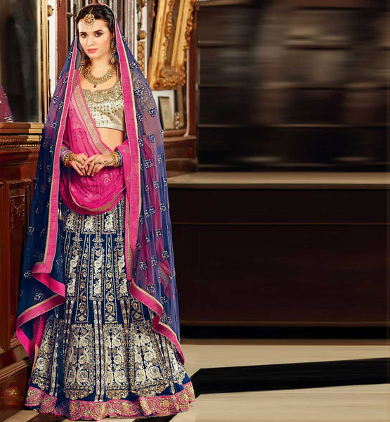 Beautiful Blue Indian Bridal Chaniya Choli Online shopping with rate. Unique new color ghagra choli
