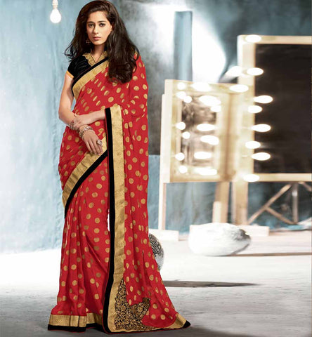 Red Indian party wear saree online shopping from stylishbazaar - Rate Rs. 3025.00 - Design No. Rtkub2320.00
