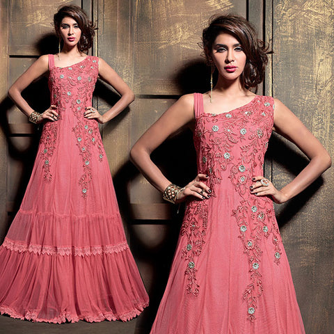 2105 MAISHA PINK DRESS WITH EMBROIDERY FOR WEDDINGS