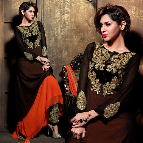 2107 MAISHA DOUBLE LAYERED BLACK AND ORANGE PARTY WEAR SALWAR SUIT