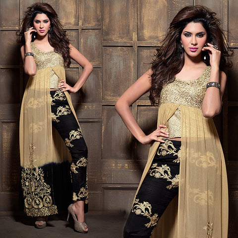 2109 MAISHA BEIGE AND BLACK EID FESTIVAL WEAR DRESS WITH TROUSER TYPE SALWAR