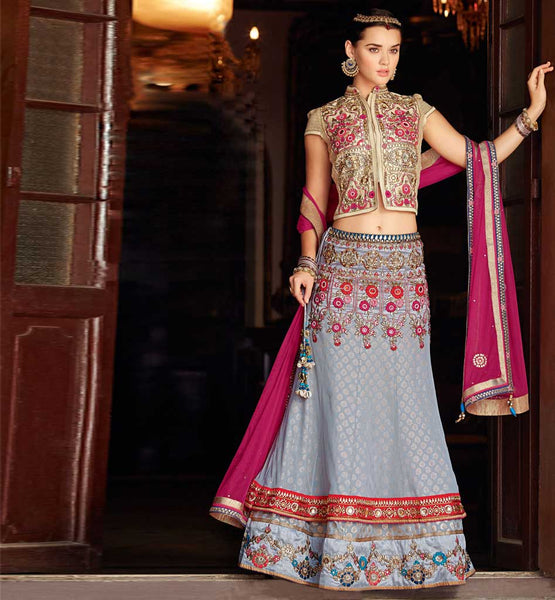 Gorgeous Grey wedding wear chaniya choli from stylishbazaar.