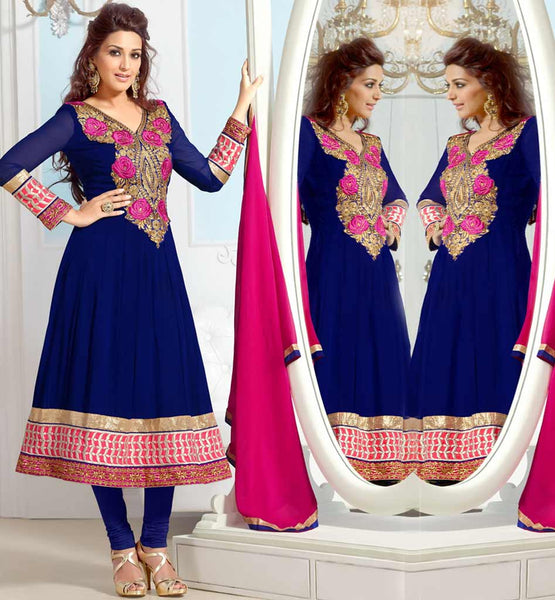 Sonali Bendre in Designer Blue anarkali dress with churidar salwar