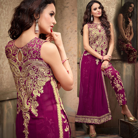 MAISHA 2205 DARK PINK DRESS