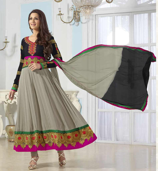 Sonali Bendre in Designer Grey anarkali dress with churidar salwar.