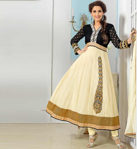 Sonali Bendre in Designer cream anarkali dress with churidar salwar.