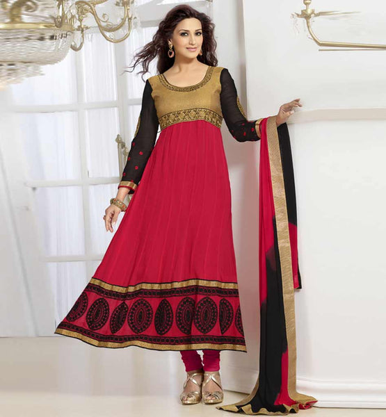 Sonali Bendre in Designer dark pink anarkali dress with churidar salwar.