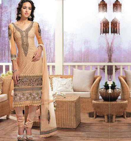 Orange-georgette-salwar-kameez-with-stone-work-lace-border-rtam2523