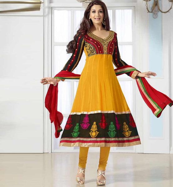 Sonali Bendre in Designer yellow anarkali dress with churidar salwar.