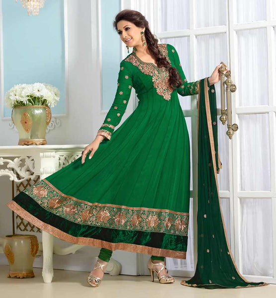Sonali Bendre in Designer gorgeous green anarkali dress with churidar salwar.