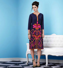 Knee Height Length And Straight Cut Long Kurtis