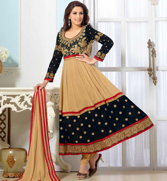 Sonali Bendre in Designer chikoo & black anarkali dress with churidar salwar.