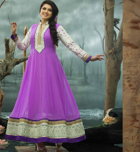 Bhagyashree in purple colour Anarkai dress.
