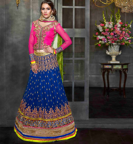 BLUE & PINK WEDDING ANMOL COLLECTION LENGHA CHOLI