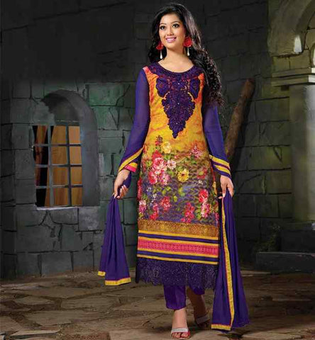 Blue floral print salwar kameez with embroidrey.