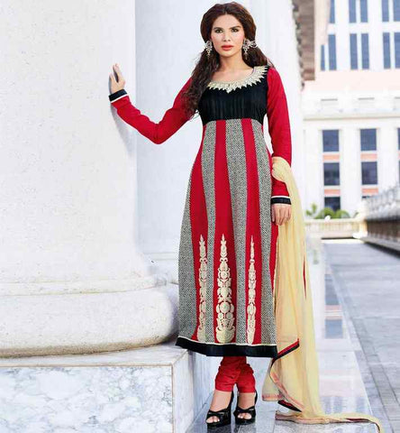 INDIAN DESIGNER MAROON COTTON PARTY WEAR SALWAR KAMEEZ WITH EMBROIDERY PRICE RS. 3225.00