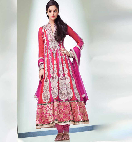 Pink & Red anarkali dress online shopping in India from stylishbazaar.