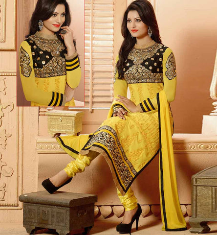 Yellow and Black Party wear salwar kameez