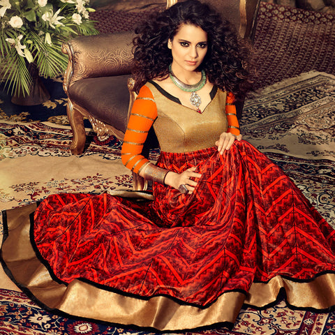 red printed anarkali gown with goldedn yoke and orange sleeves