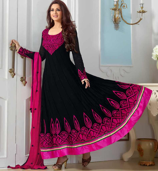 Sonali Bendre in Designer black embroiderd anarkali dress with churidar salwar.