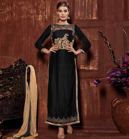 Black zari work straight cut velvet salwar kameez dress online shopping.