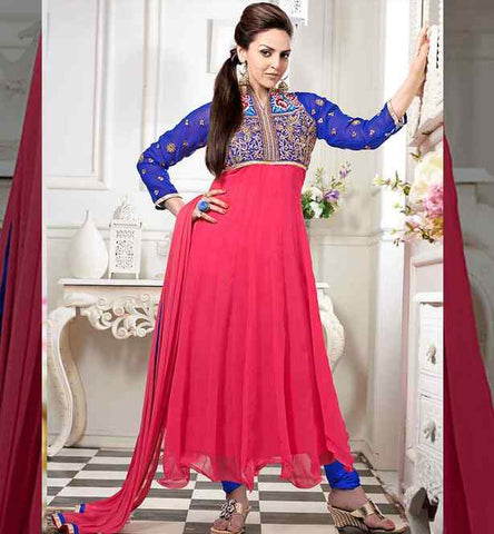 ESHA DEOL IN PINK & BLUE ANARKALI SALWAR KAMEEZ DRESS