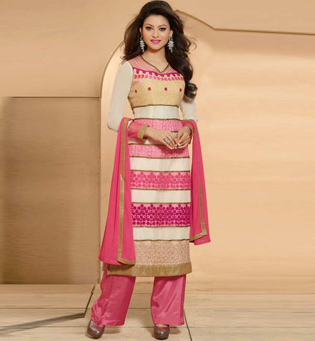 Pink and Cream party wear salwar suit