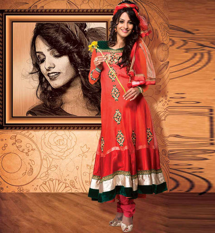 Designer Anarkali with contrast velvet patch work. Click on image to buy the product.