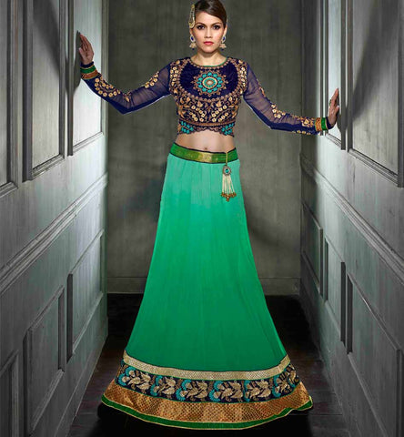 Green & Blue Designer wedding wear lehenga choli