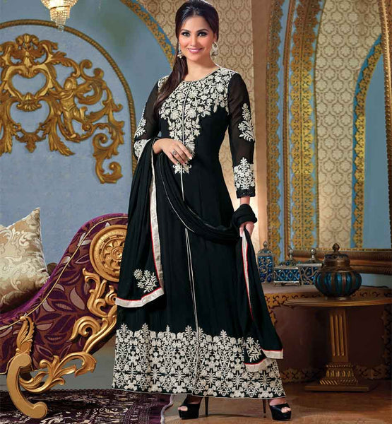 Lara Dutta Black Anarkali Dress