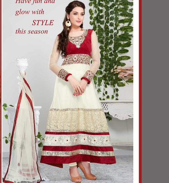 Tvisha Off White Party wear anarkali salwar suit rate rs. 2930.00
