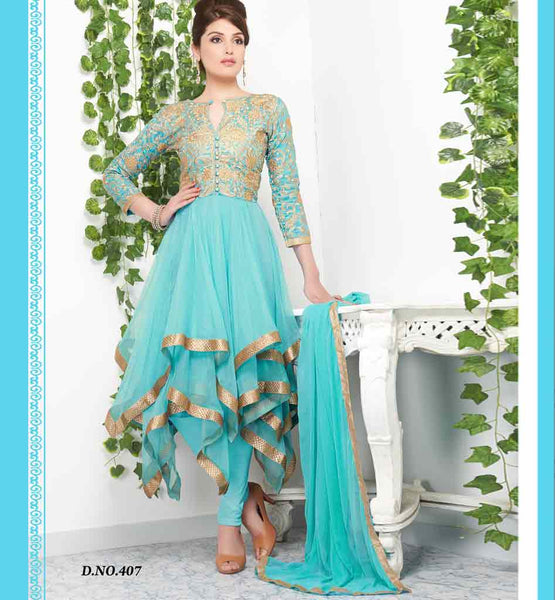 Tvisha Lovely light blue frill style Anarkali dress Rate Rs. 2930.00